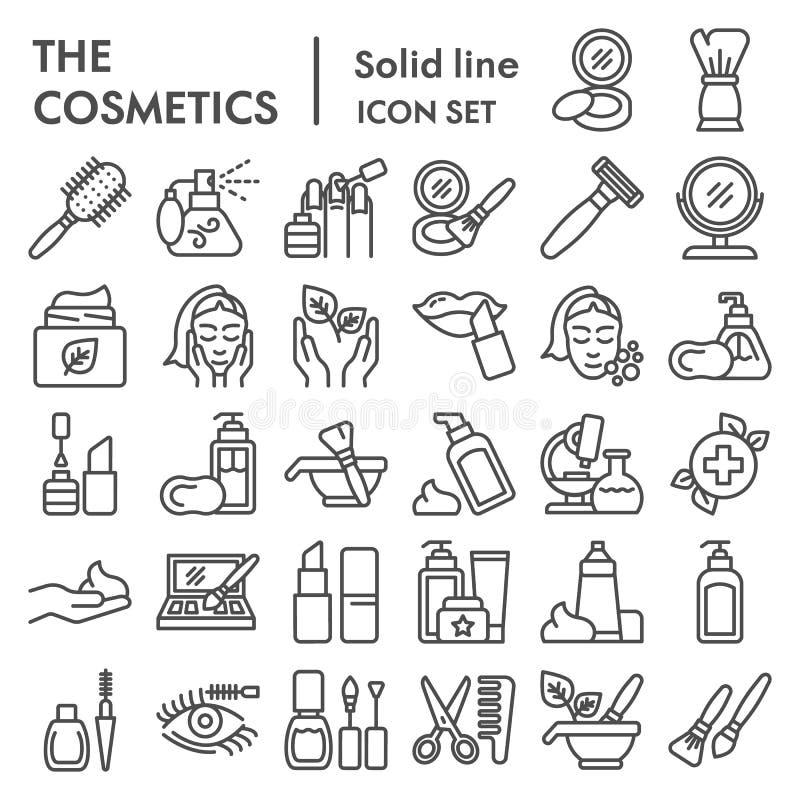 Kosmetik zeichnen Ikonensatz, Make-upsymbole Sammlung, Vektorskizzen, Logoillustrationen, die linearen Hautpflegezeichen lizenzfreie abbildung