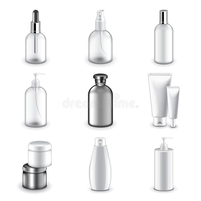 Kosmetikflaschenikonen-Vektorsatz lizenzfreie abbildung