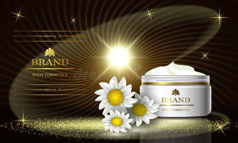 Kosmetikluxusschönheits-Reihe, Anzeigen der erstklassigen Körperkamillencreme für Hautpflege Schablone für Designfahne, Vektorill stock abbildung