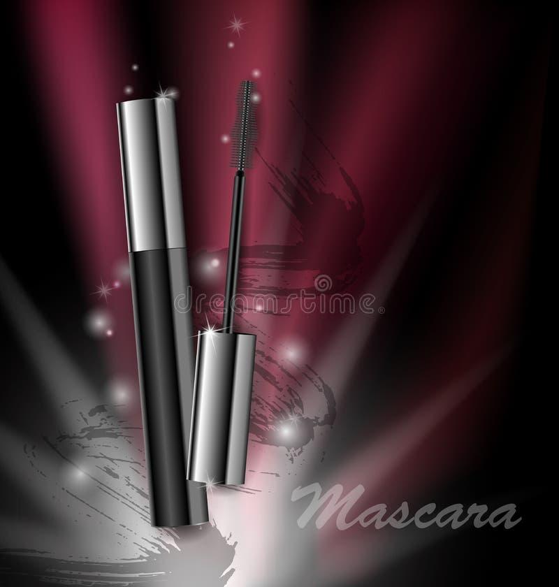 Kosmetikschönheits-Reihe, Anzeigen der erstklassigen Wimperntusche auf einem dunklen Hintergrund Schablone für Designposter, Plak vektor abbildung