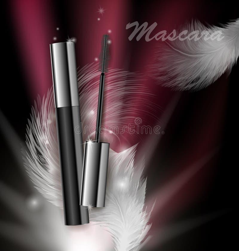 Kosmetikschönheits-Reihe, Anzeigen der erstklassigen Wimperntusche auf einem dunklen Hintergrund Schablone für Designposter, Plak stock abbildung