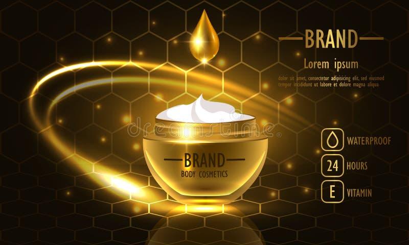 Kosmetikschönheits-Reihe, erstklassige Honey Cream-Verpackung für Hautpflege Schablone für Designplakat, Vektorillustration stock abbildung