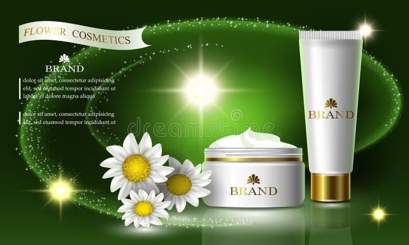 Kosmetikschönheitsblumen-Reihe, Anzeigen der erstklassigen Kamillencreme für Hautpflege Schablone für Designfahnen, Vektorillustr lizenzfreie abbildung