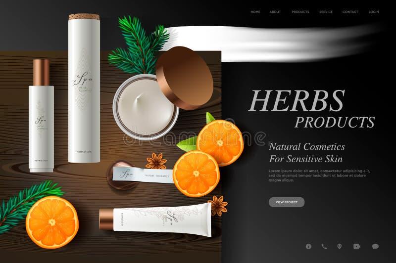 Kosmetikwebsiteschablone, frische Krautprodukte auf hölzerner Plattenbeschaffenheit, Vektorillustration vektor abbildung