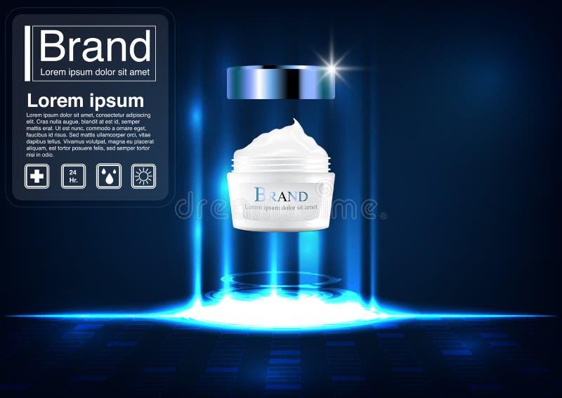 Kosmetisch advertentieconcept met luxe en bevallig 3D roommodel vector illustratie