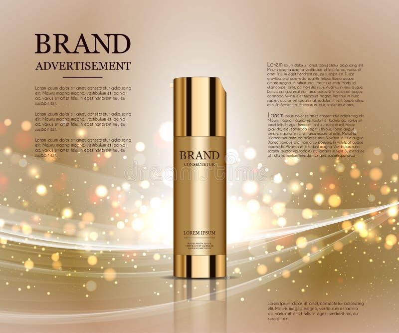 Kosmetisch die advertentiesmalplaatje, het model van de druppeltjefles op verblindende achtergrond wordt geïsoleerd Gouden folie  stock illustratie