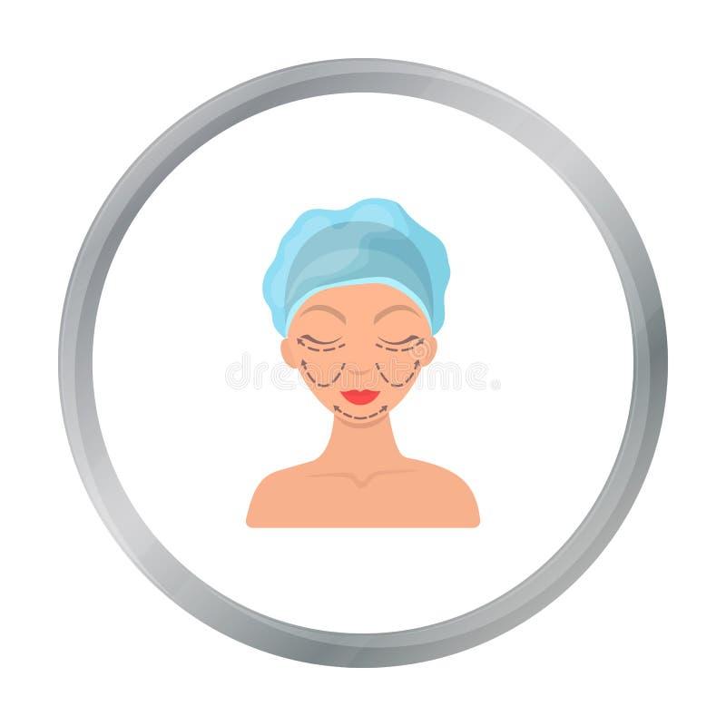 Kosmetisch die plastische chirurgiepictogram in beeldverhaalstijl op witte achtergrond wordt geïsoleerd Van de het symboolvoorraa royalty-vrije illustratie