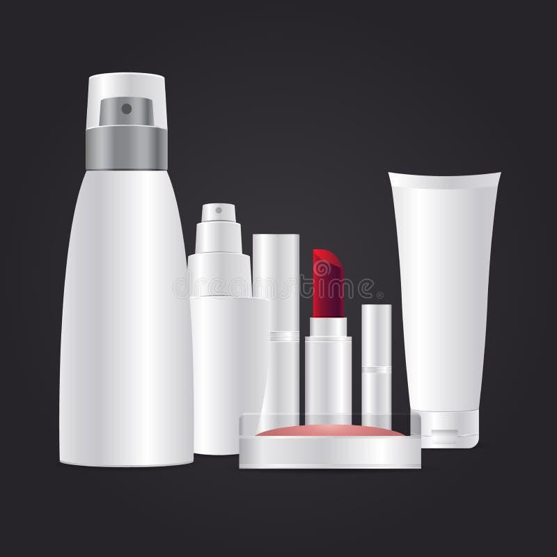 Kosmetisch merkmalplaatje 3d wit realistisch kosmetisch pakket op donkere grijze vectorillustratie als achtergrond stock illustratie