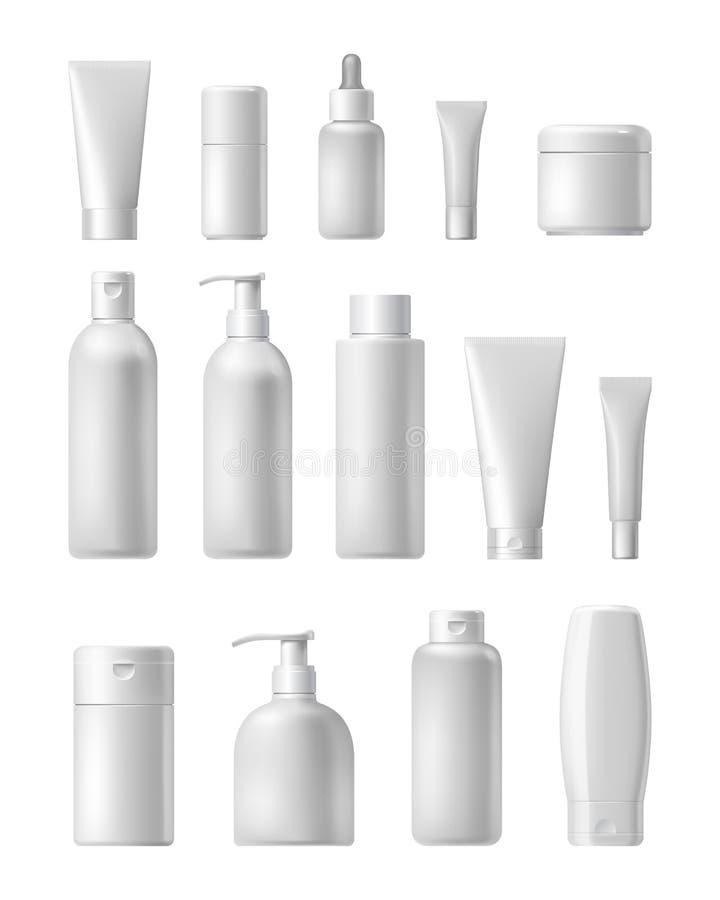 Kosmetisch merkmalplaatje Realistische flessenreeks stock illustratie