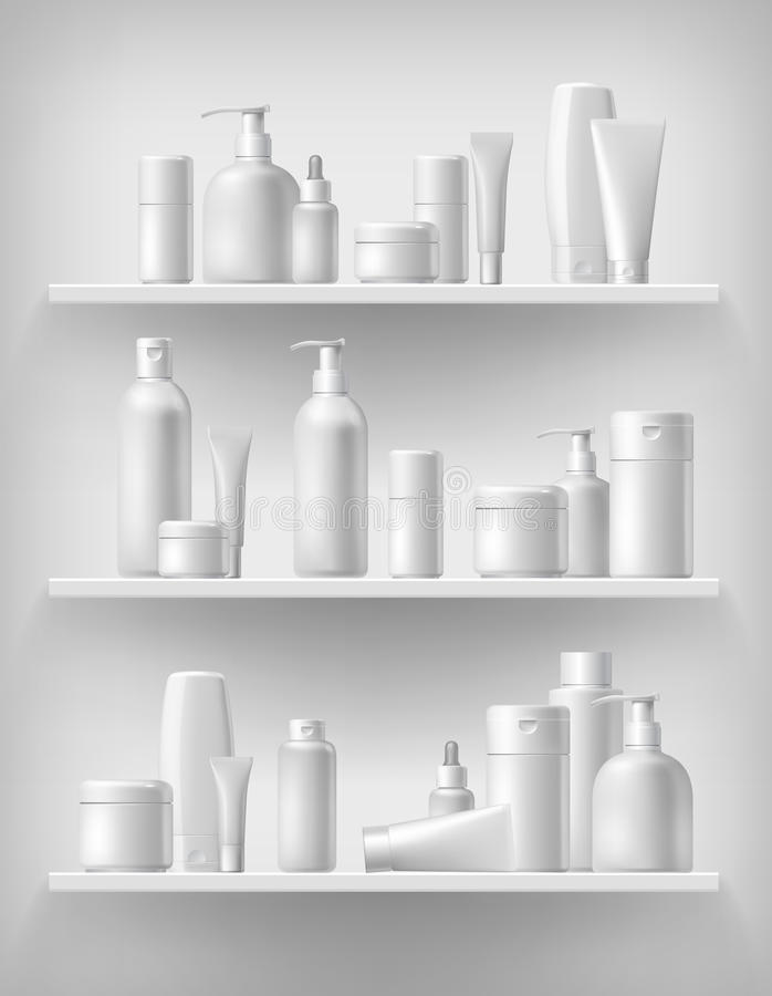 Kosmetisch merkmalplaatje Realistische flessenreeks royalty-vrije illustratie