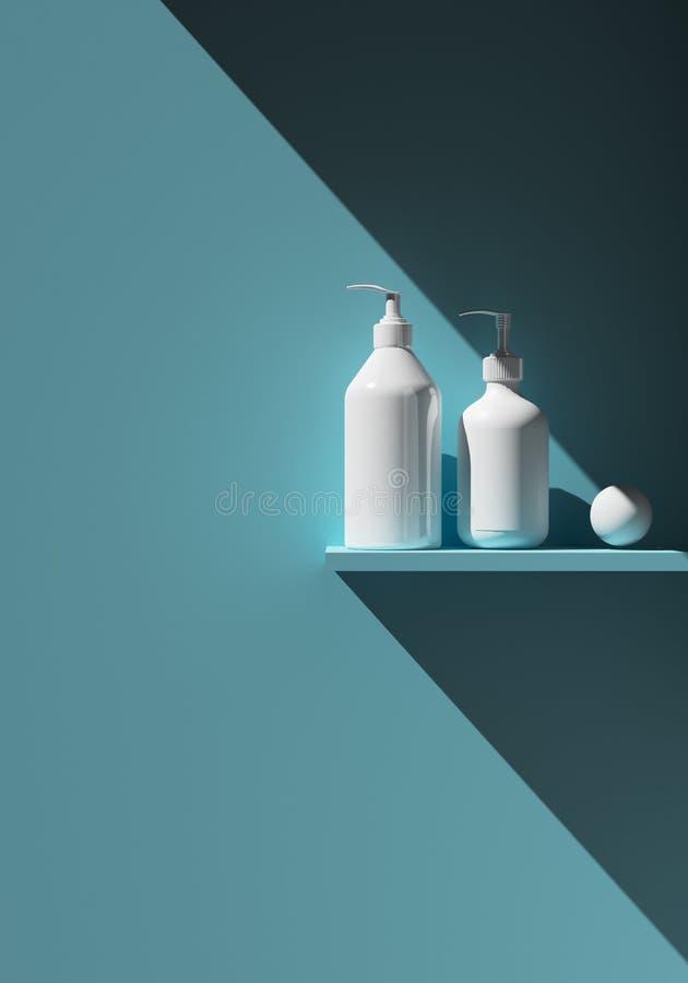 Kosmetisch merkmalplaatje Rooster verpakking Olie, lotion, shampoo De flessenspot plaatste omhoog Op de Plank 3D Illustratie stock illustratie