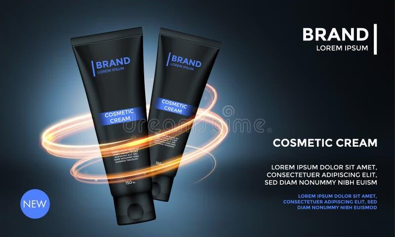 Kosmetisch pakket die vector van de de zorgroom van de malplaatjehuid van het het productmalplaatje de luxeaffiche adverteren stock illustratie