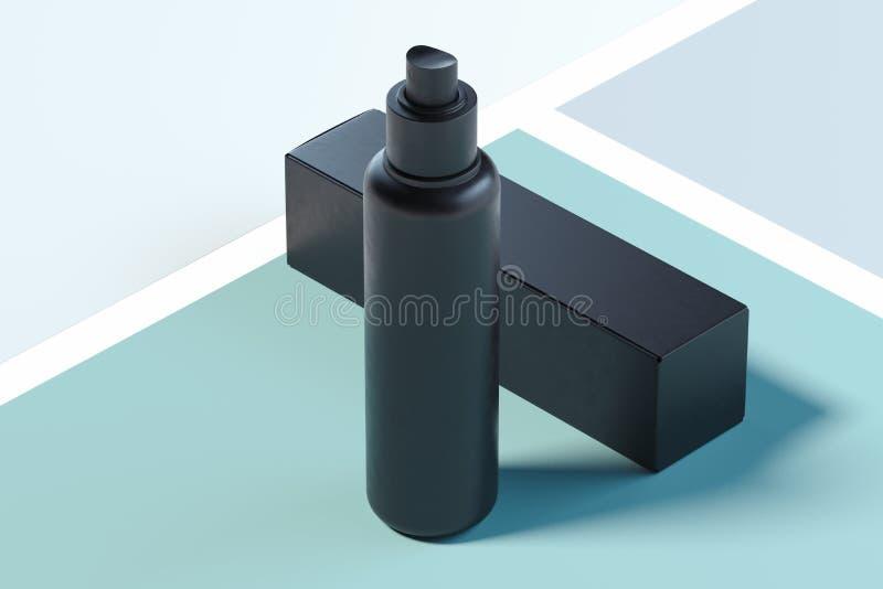 Kosmetisch plastic nevelpakket, lege zwarte container het 3d teruggeven vector illustratie