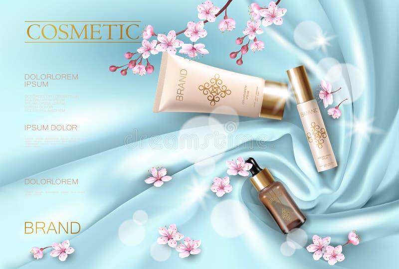 Kosmetisch promotie de affichemalplaatje van de Sakurabloem De roze Japanse tak van de bloemblaadjebloesem Gouden roze pakket rea stock illustratie