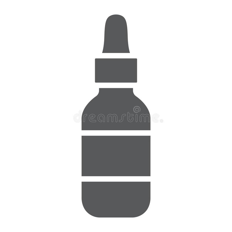 Kosmetisch serum glyph pictogram, make-up en schoonheidsmiddel, vochtinbrengende crèmeteken, vectorafbeeldingen, een stevig patro stock illustratie