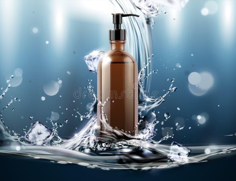 Kosmetische advertenties met lege fles royalty-vrije illustratie