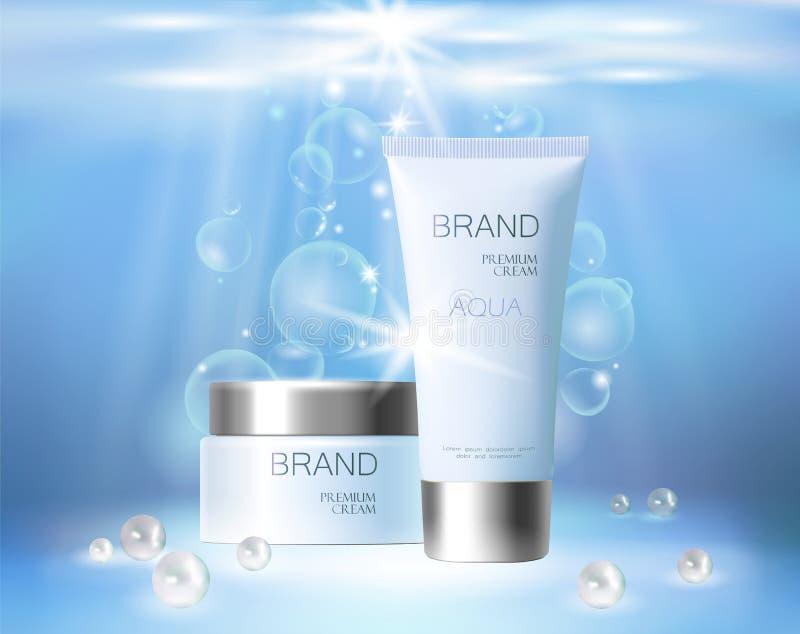 Kosmetische Anzeige der Aquahautpflege-Creme, die Plakatschablone fördert Perlt blauer Sonnenlichtstrahl des Unterwassertiefsees  vektor abbildung