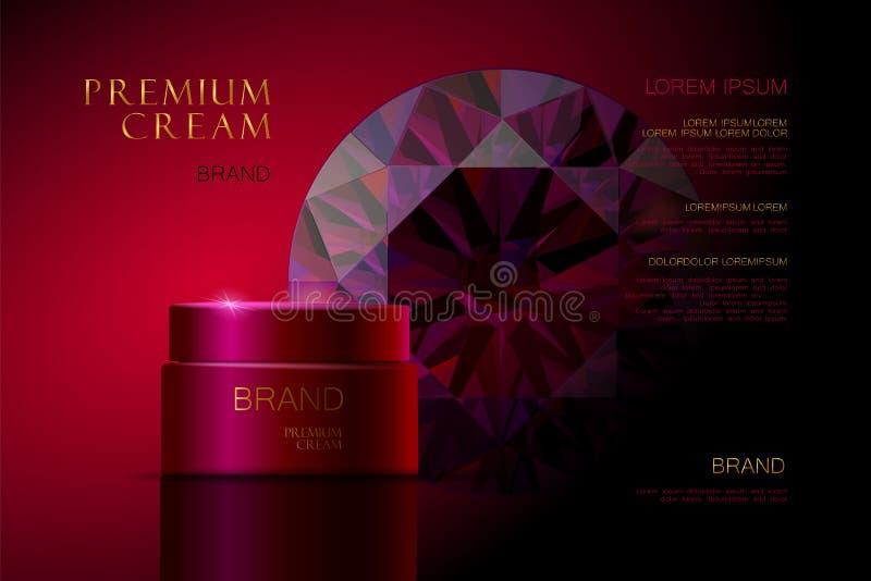 Kosmetische Anzeigencreme Ruby Premiums Zutreffen des transparenten Lacks realistische Illustration 3d vektor abbildung