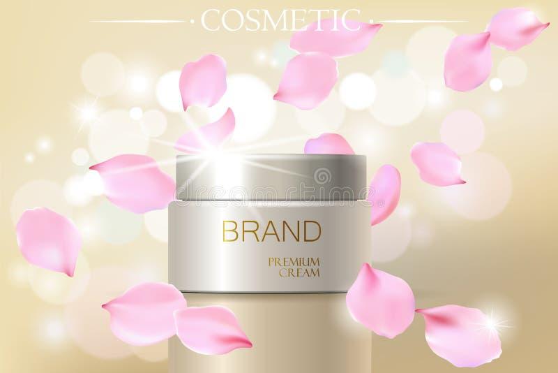 Kosmetische Anzeigenschablone des Rosen-Blumenblattblumenauszuges, realistisches Illustration 3D skincare befeuchtendes elegantes stock abbildung