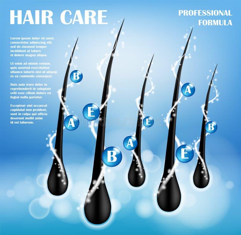 Kosmetische Anzeigenschablone Die Haar-Ernährung schützen Shampoodesign Haarpflege-Shampoo für Gesundheit Shampoo mit Vitaminen lizenzfreie abbildung