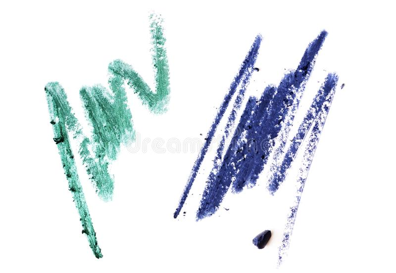Kosmetische Bleistiftanschläge lokalisiert auf Weiß stockfotos