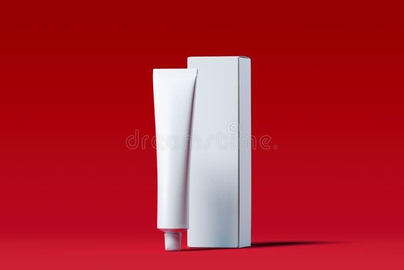Kosmetische buis voor room, gel, lotion, kleurstof en witte kartondoos het 3d teruggeven stock illustratie