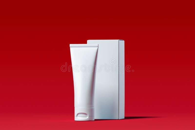 Kosmetische buis voor room, gel, lotion met witte kartondoos het 3d teruggeven vector illustratie