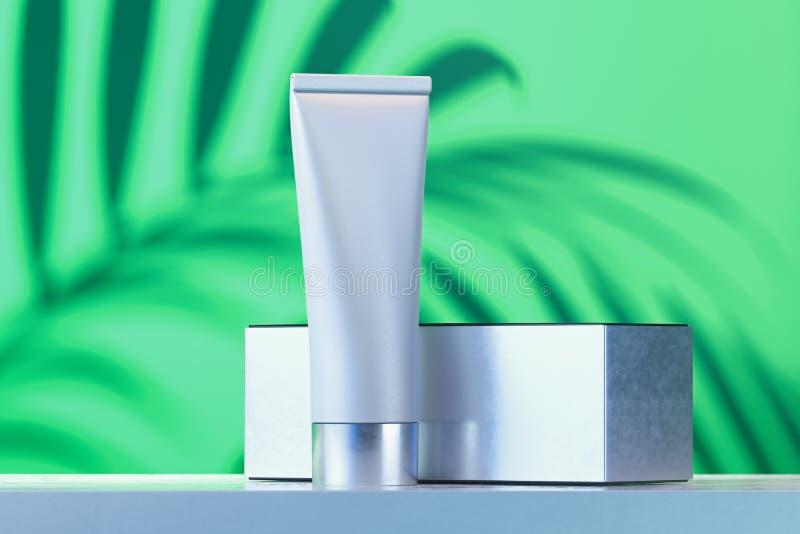 Kosmetische buis voor vloeistof, room, gel, lotion met witte kartondoos het 3d teruggeven royalty-vrije illustratie