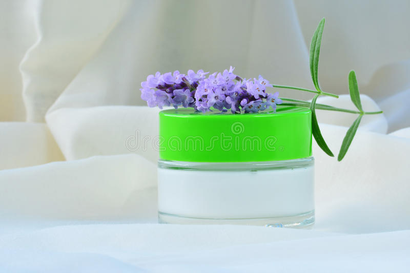 Kosmetische de vochtinbrengende crèmevoeding van de room ontspannende huid in kruik royalty-vrije stock afbeelding