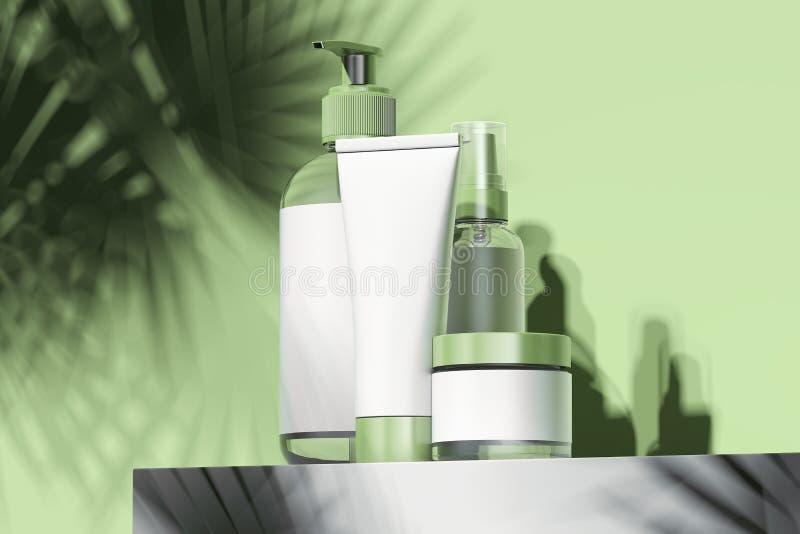 Kosmetische die Fles voor room, lotion wordt geplaatst Lege plastic containers het 3d teruggeven vector illustratie