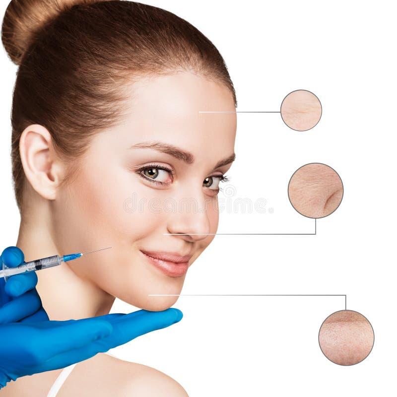 Kosmetische Einspritzung zum recht weiblichen Gesicht stockbild