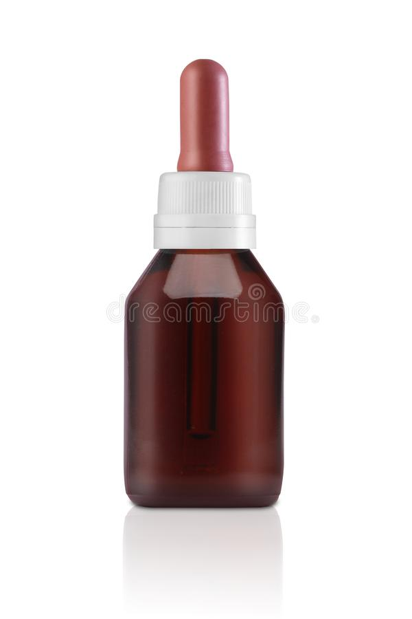 Kosmetische fles met pipet op wit royalty-vrije stock foto