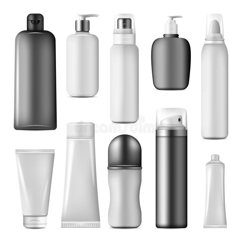 Kosmetische fles, nevel, pomp en automaatspot omhoog stock illustratie