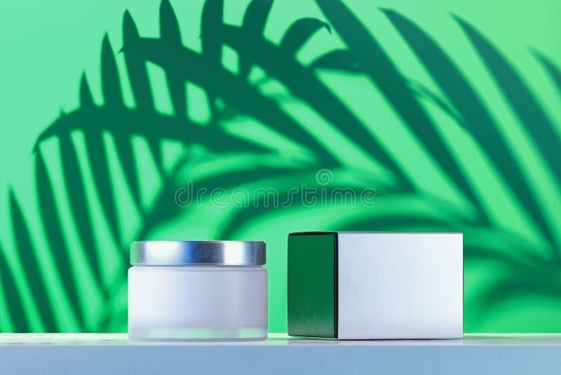 Kosmetische Fles voor room, gel, lotion roomkruik en witte lege kartondoos het 3d teruggeven vector illustratie
