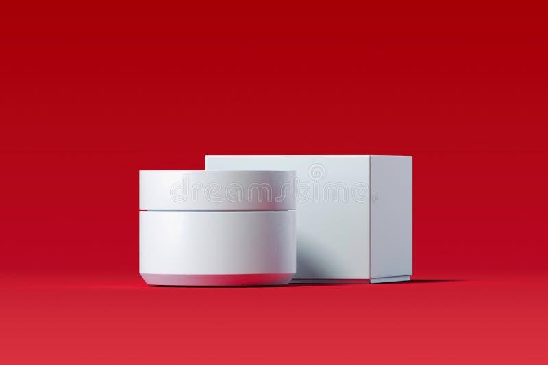 Kosmetische Fles voor room, gel, lotion Witte Plastic Roomkruik het 3d teruggeven vector illustratie
