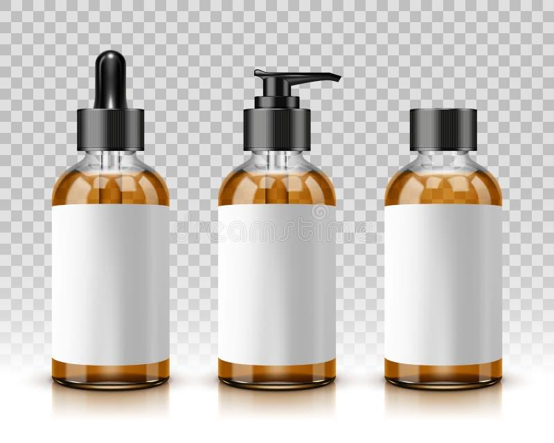 Kosmetische geïsoleerden flessen royalty-vrije illustratie