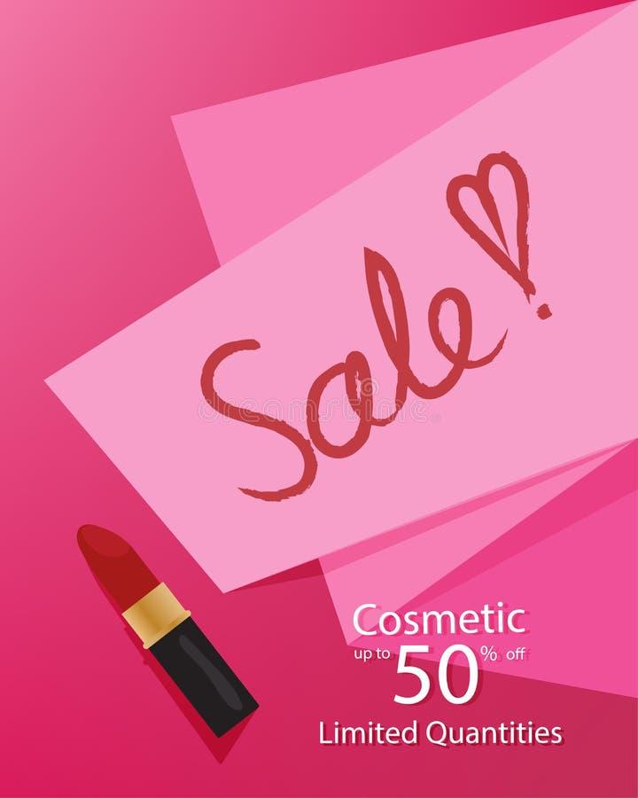 Kosmetische het malplaatjebanner van de damesverkoop, kortingsontruiming tot 50% weg, met een roze document en een lippenstift op vector illustratie