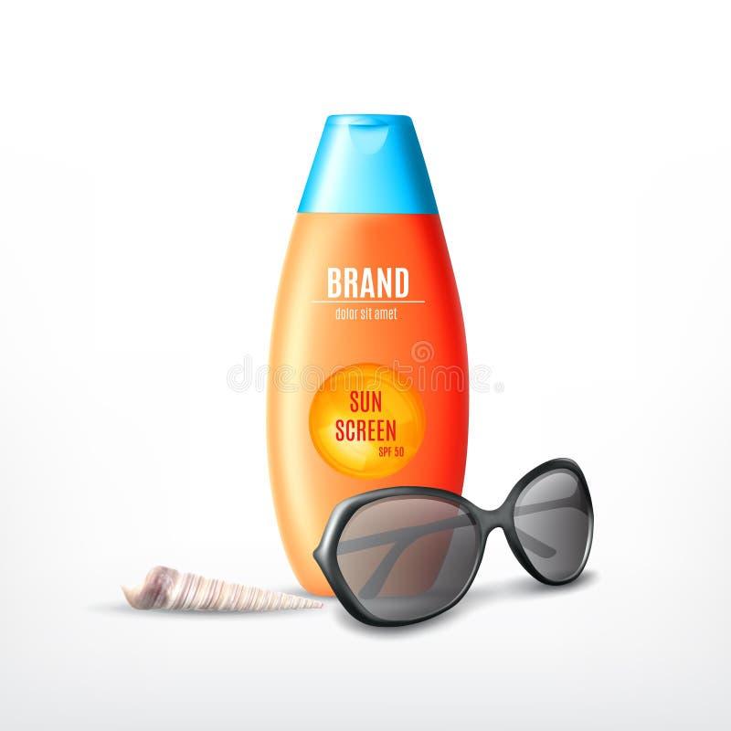Kosmetische Konzeption des Produkts des Sonnenschutzes lizenzfreie abbildung