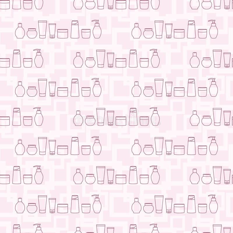 Kosmetische kruiken Naadloos patroon met diverse kosmetische flessen royalty-vrije illustratie