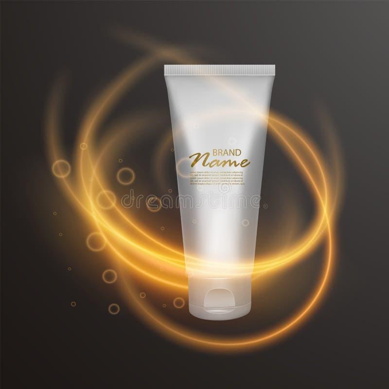 Kosmetische Luxusschablone für Anzeigen, realistisches schwarzes kosmetisches Mattglas 3d mit Beleuchtungsaufflackerneffekt Vekto vektor abbildung