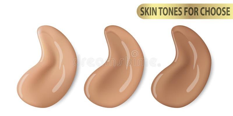 Kosmetische Make-upabdeckstiftfarbe der flüssigen Grundierung Promo Ton des Vektors 3d für unterschiedliche Hautfarbe schreibt stock abbildung