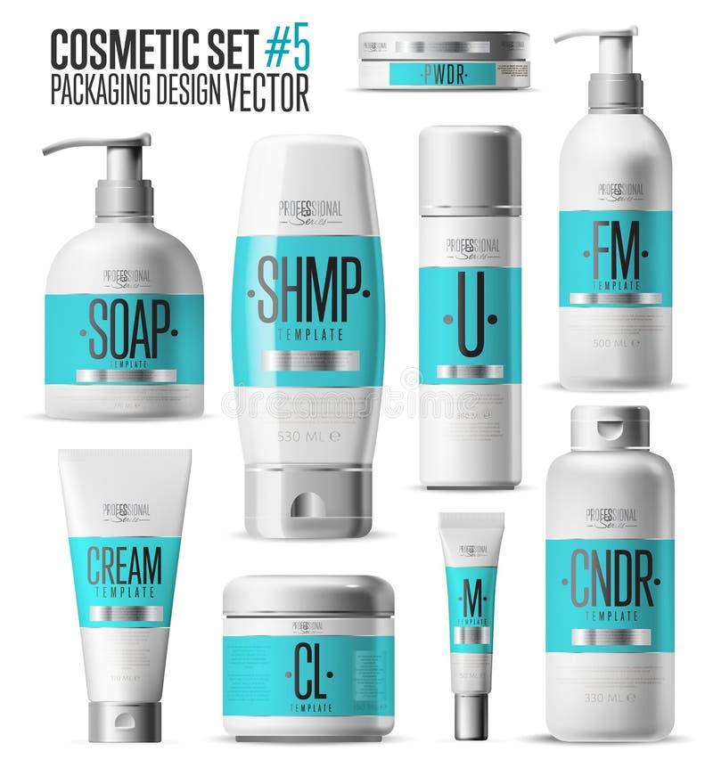 Kosmetische Markenschablone Realistischer Flaschensatz lizenzfreie abbildung