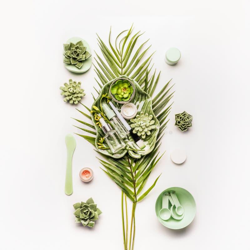Kosmetische Maskenkräuterherstellung Tropische Blätter und Succulents mit kosmetischen Produkten und Zubehör stockfotografie