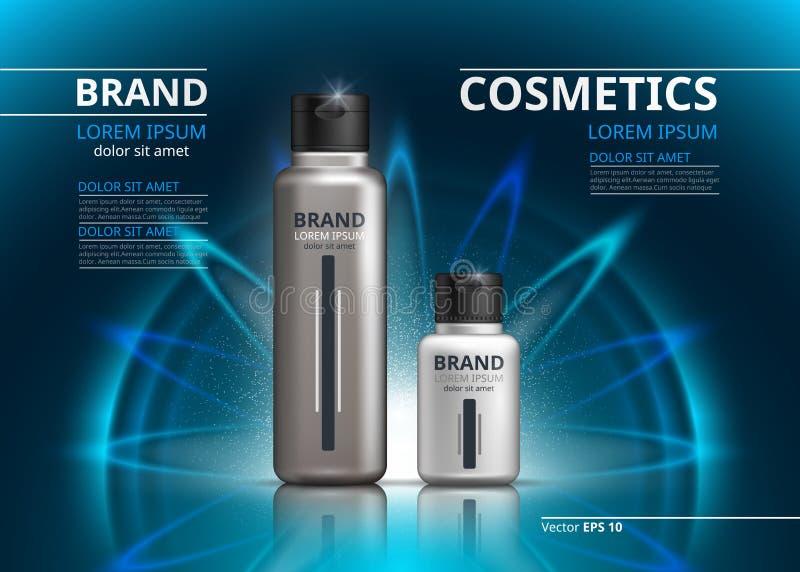 Kosmetische Paketanzeigenschablone Shampoo- oder Duschgel, skincare Produkte in den silbernen Flaschen Modell 3D realistisch stock abbildung
