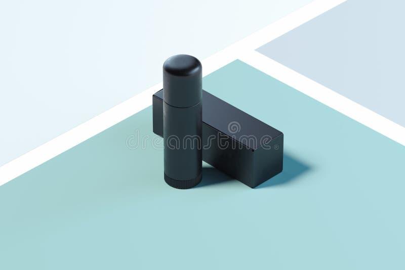 Kosmetische plastic container lippenpommade op multicolored achtergrond het 3d teruggeven vector illustratie
