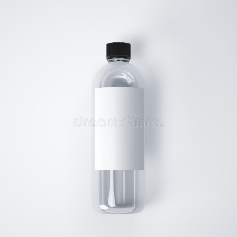 Kosmetische plastic fles met leeg etiket het 3d teruggeven stock illustratie