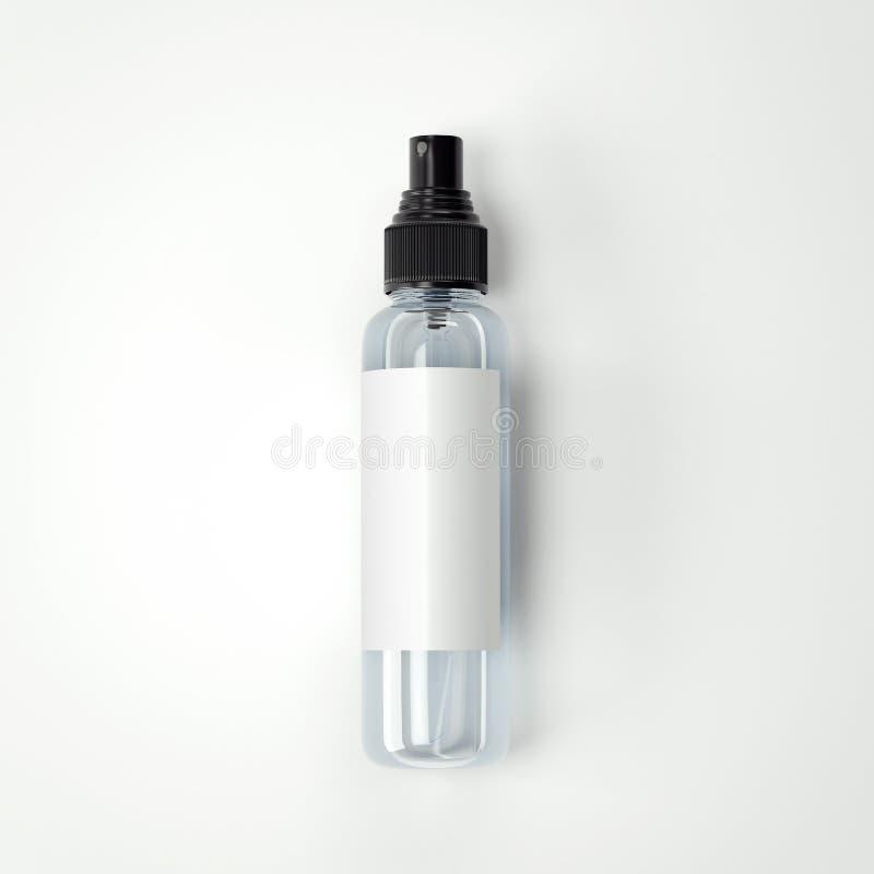 Kosmetische plastic transparante fles met leeg etiket het 3d teruggeven vector illustratie