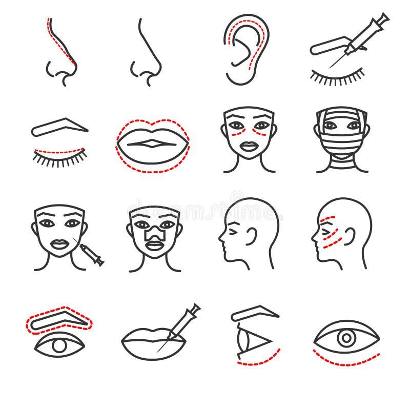 Kosmetische plastic vector dunne geplaatste de lijnpictogrammen van de gezichtschirurgie stock illustratie