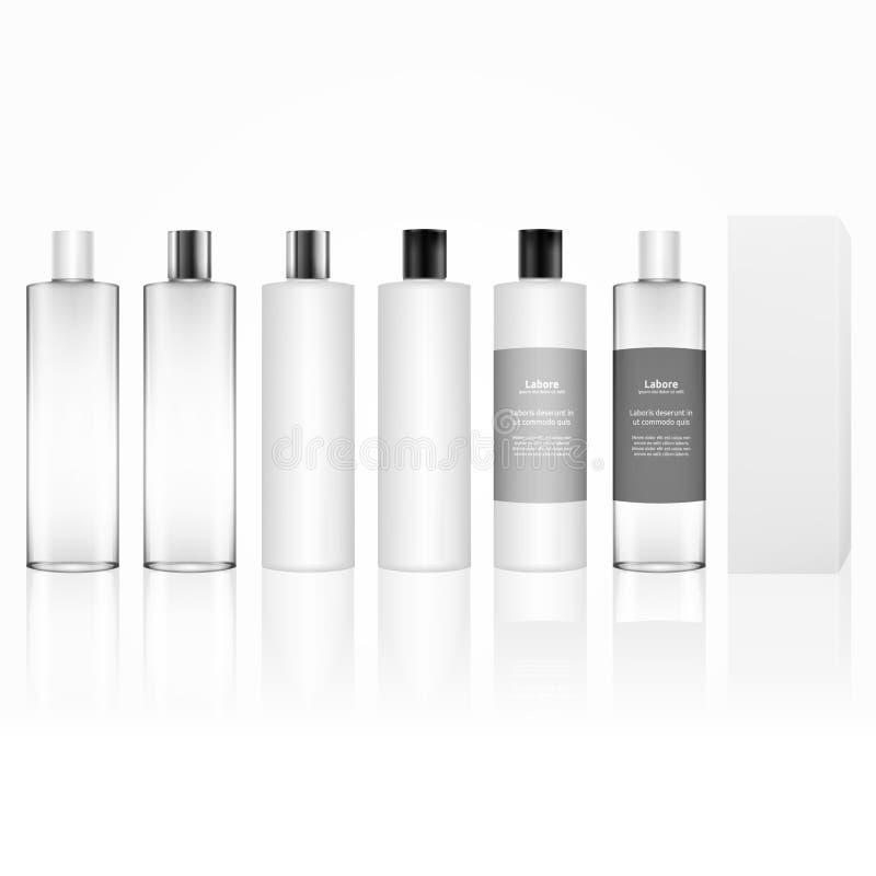 Kosmetische Plastikflasche lokalisiert Hautpflegeflaschen für Gel, Flüssigkeit, Lotion, Creme, Shampoo, Badschaum Schönheitsprodu vektor abbildung