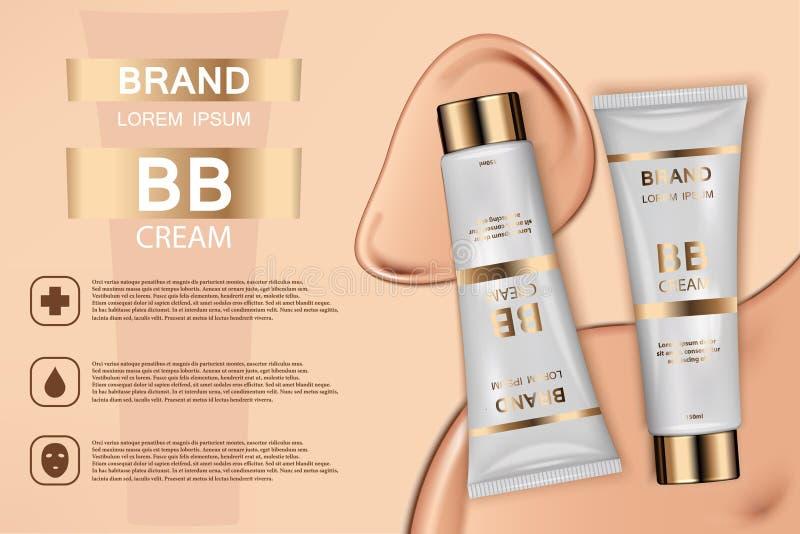 Kosmetische Produktanzeige des Hauttoners Abbildung des Vektor 3d Hautcreme-Flaschenschablonendesign Gesicht und Körper bilden To lizenzfreie abbildung